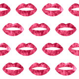 Red woman lips seamless pattern Royalty Free Stock Images