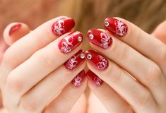 Red woman nails Royalty Free Stock Photos