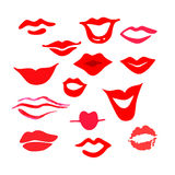 Red woman's lips set Royalty Free Stock Photos