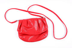 Red woman's purse. Isolated on white background Stock Photo
