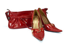 Red woman's shoes and handbag Royalty Free Stock Photos