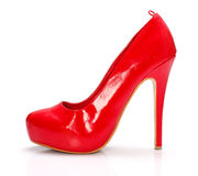 Red woman shoe Stock Images