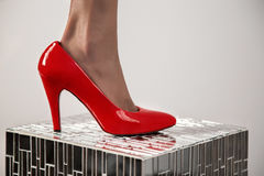 Red woman shoe. Red high heel shoe Stock Photo