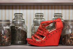 Red shoe. Red woman shoe for a presentation royalty free stock photo
