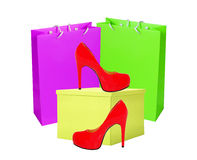 Red woman shoe, yellow gift box and shopping bags isolated Stock Images
