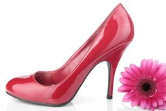 Red woman shoes over white Royalty Free Stock Photos