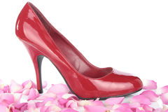 Red woman shoes over white background Royalty Free Stock Photo