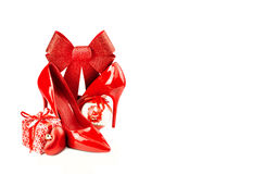 Red woman shoes Stock Images