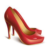 Red woman shoes. In vector on white background Royalty Free Stock Image