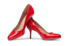 Red woman shoes. On the white background Stock Image