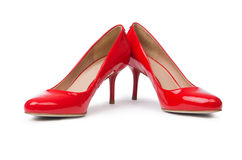 Red woman shoes  on the white background Stock Photography