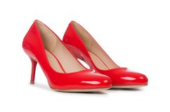 Red woman shoes  on the white background Royalty Free Stock Photo