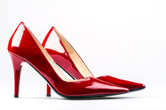 Red woman shoes. Royalty Free Stock Image