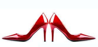 Red woman shoes. Royalty Free Stock Photo