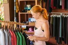 Red woman shopping Royalty Free Stock Photo