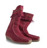 Red  womanish high boots Royalty Free Stock Images