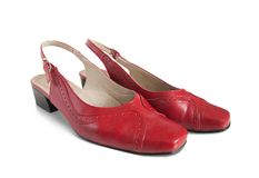Red womanish shoes Royalty Free Stock Photo