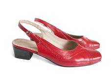 Red womanish shoes Royalty Free Stock Image