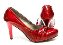 Red womanish shoes Stock Images