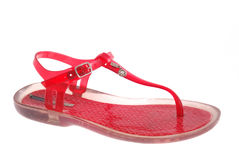 Red womanish shoes Royalty Free Stock Photos