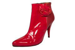 Red women ankle boot Stock Photo
