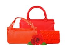 Red women bags and rose flower isolated on white Stock Photography