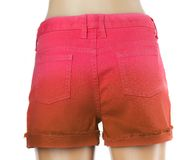 Red women jeans shorts. Back Stock Photos