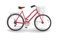 Red women`s bike. Isolated red women`s bicycle with basket, vector vector illustration