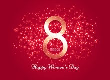 Red women`s day background with sparkle effect. Vector royalty free illustration
