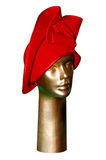 Red Women's hat on a mannequin Royalty Free Stock Photography