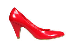 Red women's heel shoe Royalty Free Stock Photos
