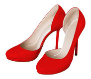 Red women shoes Stock Photos