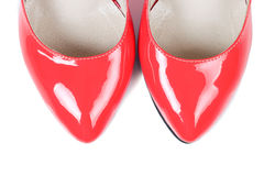 Red women shoes. Royalty Free Stock Photography