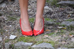 Red women shoes Stock Photo