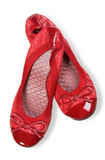 Red women shoes. Isolated on white background with clipping path Stock Photos