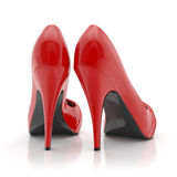 Red women stiletto high heel shoes isolated on white background Stock Photos