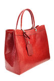 Red womens bag isolated on white background. Royalty Free Stock Photo