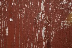 Red wood background, broken paint royalty free stock photo