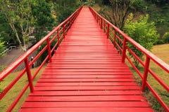 Red wood bridge Stock Photos
