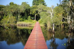 Red wood bridge reflection water. In Thailand Stock Images
