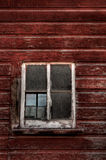 Red Wood Building - Broken Window (vertical) Royalty Free Stock Photo