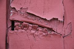 Red Wood Cracked Peeling Wood Planks Royalty Free Stock Photography