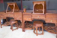 Red wood furniture selling. At market in  China Stock Photography