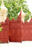Red wood gate old art Stock Photo