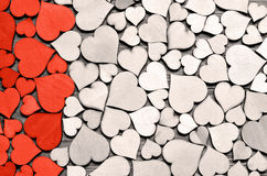 Red wood heart on hearts background, valentine day concept. Stock Photography