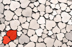 Red wood heart on hearts background, valentine day concept. Royalty Free Stock Photos