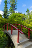 Red Wood Japanese Foot Bridge Stock Images