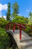 Red Wood Japanese Foot Bridge Stock Photos