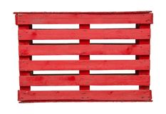 Red wood pallet  on white background stock images