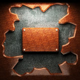 Red wood plate on concrete Stock Photo